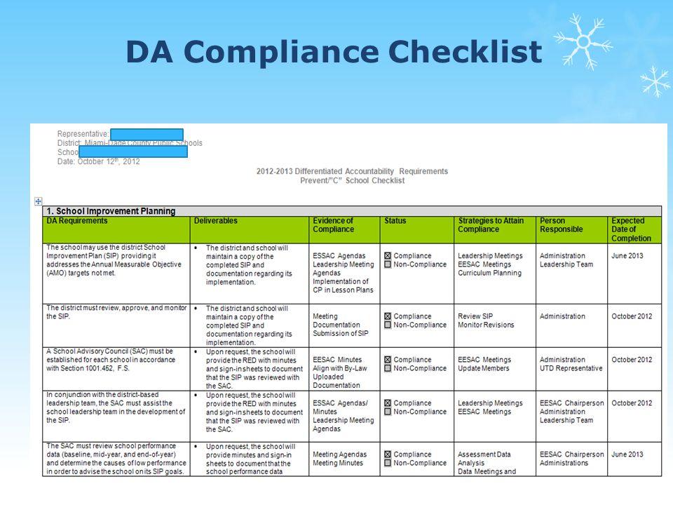 DA Compliance Checklist 77