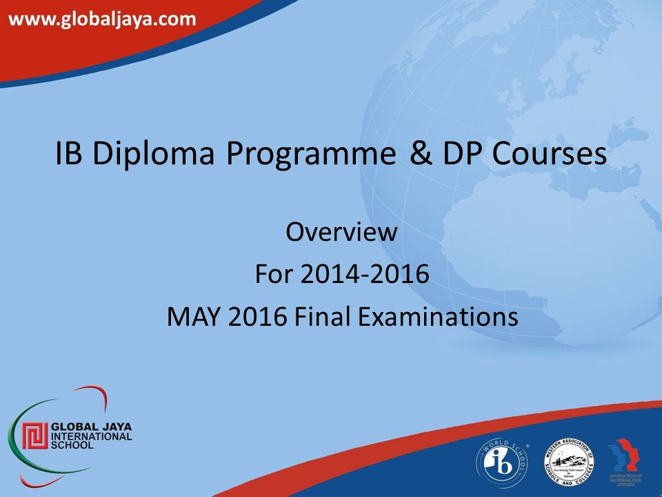 IB Diploma Programme & DP Courses Overview For 2014-2016 MAY 2016 Final Examinations