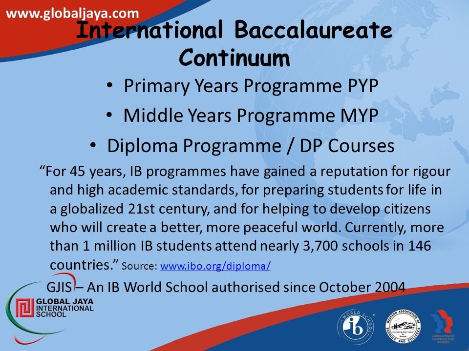 """International Baccalaureate Continuum Primary Years Programme PYP Middle Years Programme MYP Diploma Programme / DP Courses """"For 45 years, IB programm"""