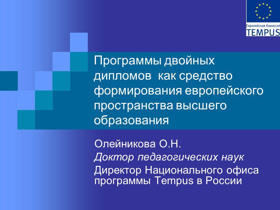 Программы двойных дипломов как средство формирования европейского пространства высшего образования Олейникова О.Н.