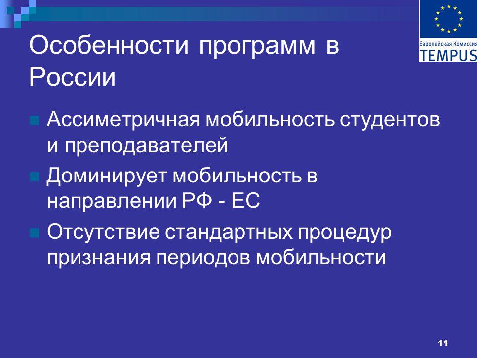 11 Особенности программ в России Ассиметричная мобильность студентов и преподавателей Доминирует мобильность в направлении РФ - ЕС Отсутствие стандартных процедур признания периодов мобильности