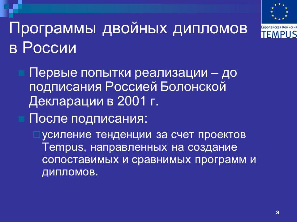 3 Программы двойных дипломов в России Первые попытки реализации – до подписания Россией Болонской Декларации в 2001 г.
