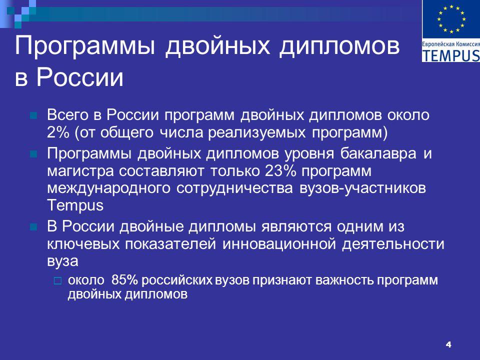 4 Программы двойных дипломов в России Всего в России программ двойных дипломов около 2% (от общего числа реализуемых программ) Программы двойных дипломов уровня бакалавра и магистра составляют только 23% программ международного сотрудничества вузов-участников Tempus В России двойные дипломы являются одним из ключевых показателей инновационной деятельности вуза  около 85% российских вузов признают важность программ двойных дипломов