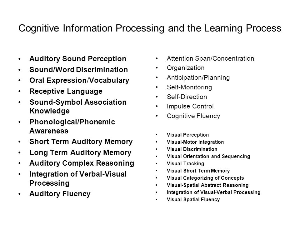 Cognitive Information Processing and the Learning Process Auditory Sound Perception Sound/Word Discrimination Oral Expression/Vocabulary Receptive Language Sound-Symbol Association Knowledge Phonological/Phonemic Awareness Short Term Auditory Memory Long Term Auditory Memory Auditory Complex Reasoning Integration of Verbal-Visual Processing Auditory Fluency Attention Span/Concentration Organization Anticipation/Planning Self-Monitoring Self-Direction Impulse Control Cognitive Fluency Visual Perception Visual-Motor Integration Visual Discrimination Visual Orientation and Sequencing Visual Tracking Visual Short Term Memory Visual Categorizing of Concepts Visual-Spatial Abstract Reasoning Integration of Visual-Verbal Processing Visual-Spatial Fluency