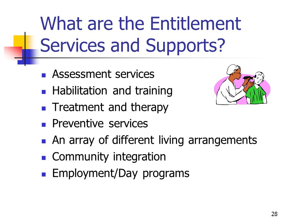 29 Entitlement Services and Supports (Continued) Family support services Relationship services and supports Emergency and crisis intervention services Specialized equipment Transportation services Facilitation/Self-Advocacy Interpreter/translator services Advocacy