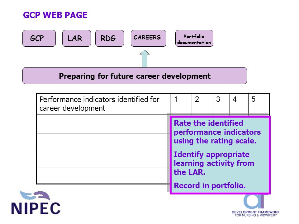 Performance indicators identified for career development 12345 GCP WEB PAGE GCPLARRDG CAREERS Portfolio documentation Preparing for future career development Rate the identified performance indicators using the rating scale.
