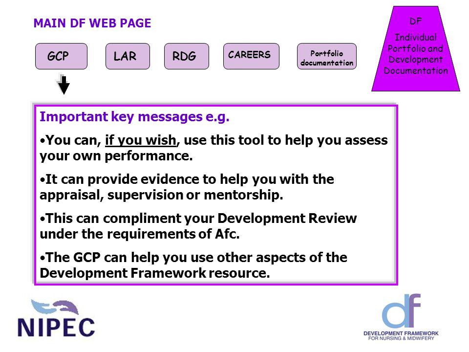 DF Individual Portfolio and Development Documentation MAIN DF WEB PAGE GCPLARRDG CAREERS Portfolio documentation Important key messages e.g.