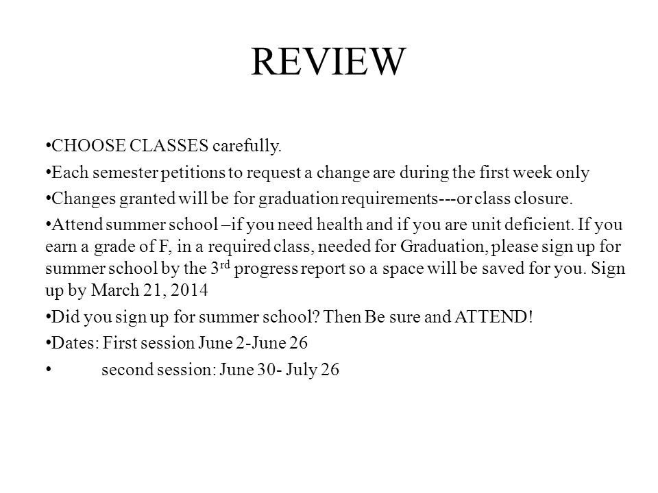 REVIEW CHOOSE CLASSES carefully.