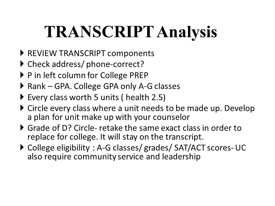 TRANSCRIPT Analysis  REVIEW TRANSCRIPT components  Check address/ phone-correct.