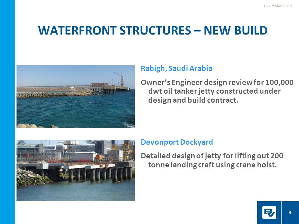 Rabigh, Saudi Arabia Owner's Engineer design review for 100,000 dwt oil tanker jetty constructed under design and build contract. Devonport Dockyard D