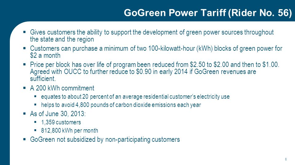 GoGreen Power Tariff (Rider No.