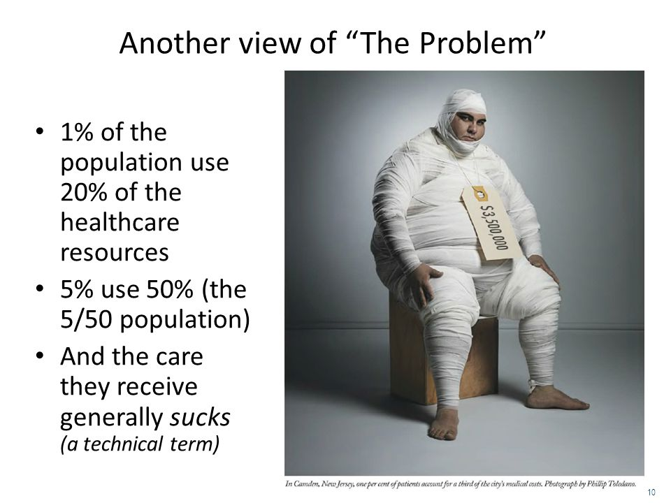 "Another view of ""The Problem"" 1% of the population use 20% of the healthcare resources 5% use 50% (the 5/50 population) And the care they receive gene"