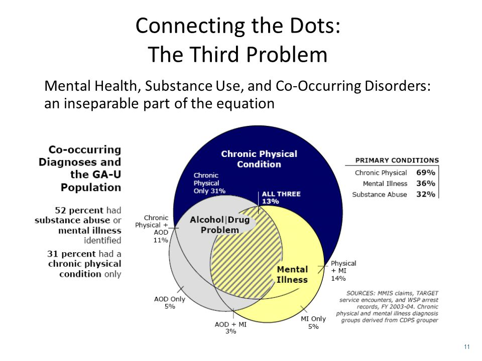 Connecting the Dots: The Third Problem Mental Health, Substance Use, and Co-Occurring Disorders: an inseparable part of the equation 11