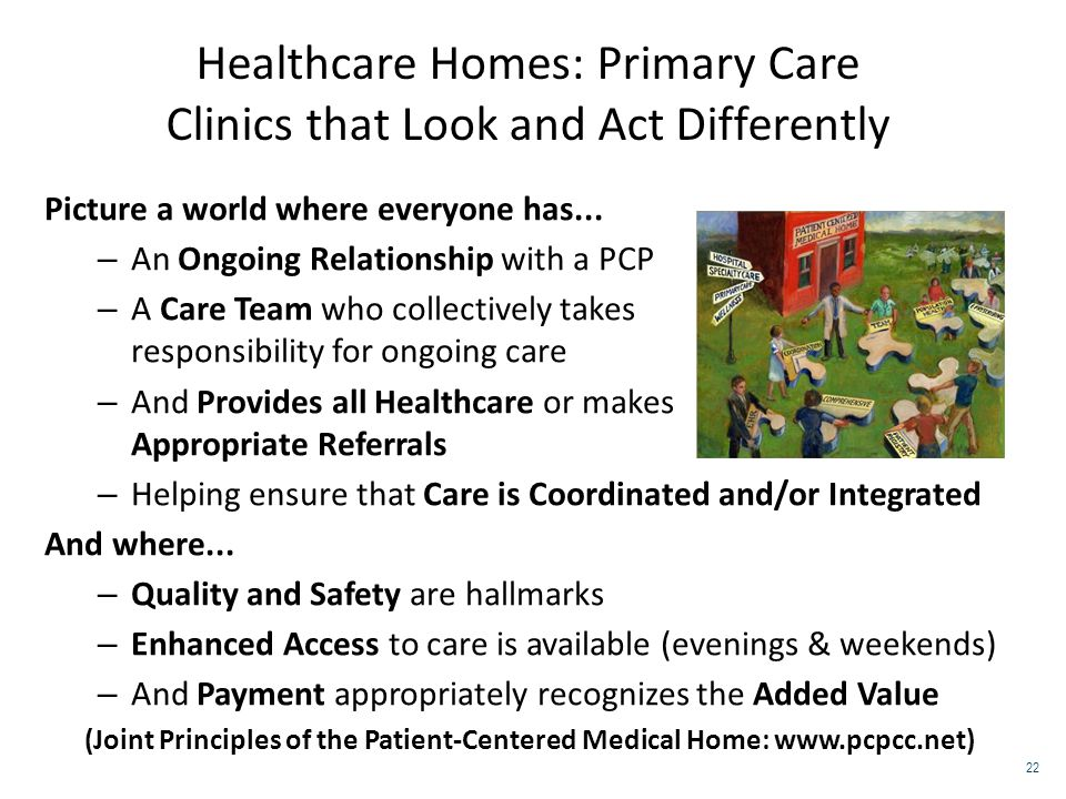 Healthcare Homes: Primary Care Clinics that Look and Act Differently Picture a world where everyone has... – An Ongoing Relationship with a PCP – A Ca