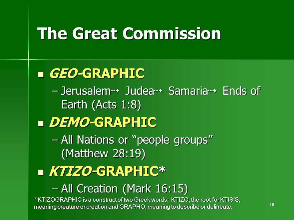 18 GEO-GRAPHIC GEO-GRAPHIC –Jerusalem  Judea  Samaria  Ends of Earth (Acts 1:8) DEMO-GRAPHIC DEMO-GRAPHIC –All Nations or people groups (Matthew 28:19) KTIZO-GRAPHIC* KTIZO-GRAPHIC* –All Creation (Mark 16:15) * KTIZOGRAPHIC is a construct of two Greek words: KTIZO, the root for KTISIS, meaning creature or creation and GRAPHO, meaning to describe or delineate.