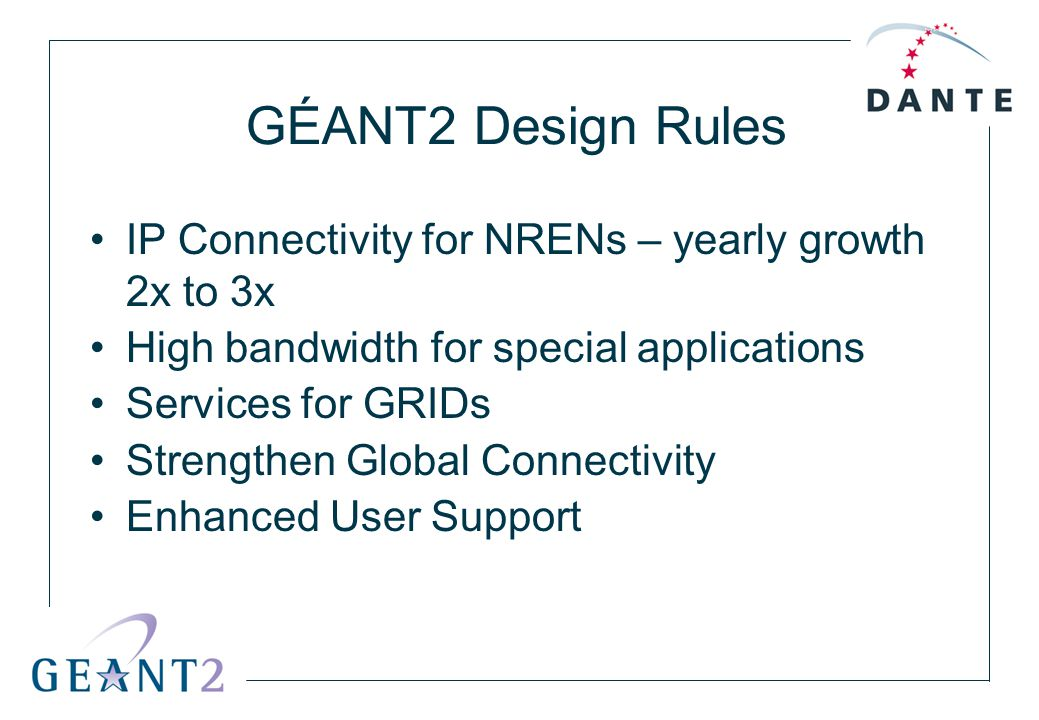 GÉANT2 Design Rules IP Connectivity for NRENs – yearly growth 2x to 3x High bandwidth for special applications Services for GRIDs Strengthen Global Co