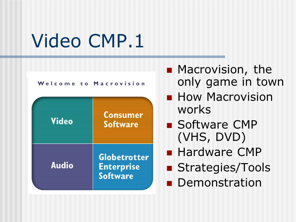 Video CMP.1 Macrovision, the only game in town How Macrovision works Software CMP (VHS, DVD) Hardware CMP Strategies/Tools Demonstration