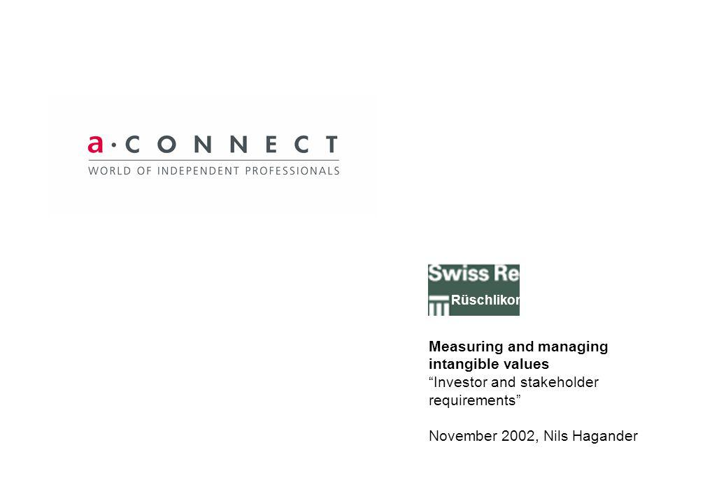 Measuring and managing intangible values Investor and stakeholder requirements November 2002, Nils Hagander Rüschlikon