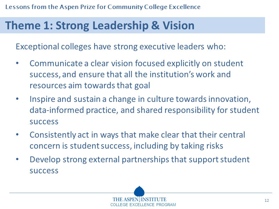 Lessons from the Aspen Prize for Community College Excellence COLLEGE EXCELLENCE PROGRAM Theme 1: Strong Leadership & Vision Exceptional colleges have