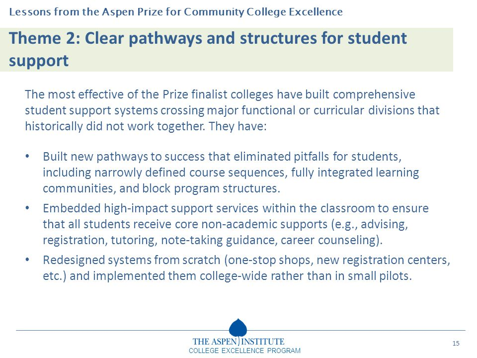 Theme 2: Clear pathways and structures for student support Lessons from the Aspen Prize for Community College Excellence COLLEGE EXCELLENCE PROGRAM Th