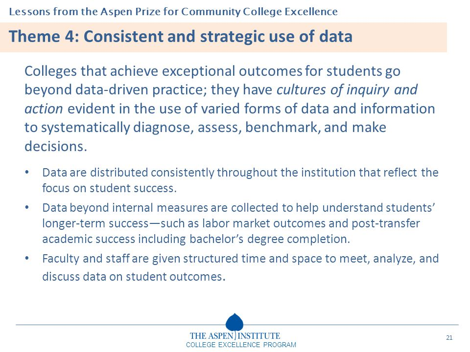 Lessons from the Aspen Prize for Community College Excellence COLLEGE EXCELLENCE PROGRAM Theme 4: Consistent and strategic use of data Colleges that a