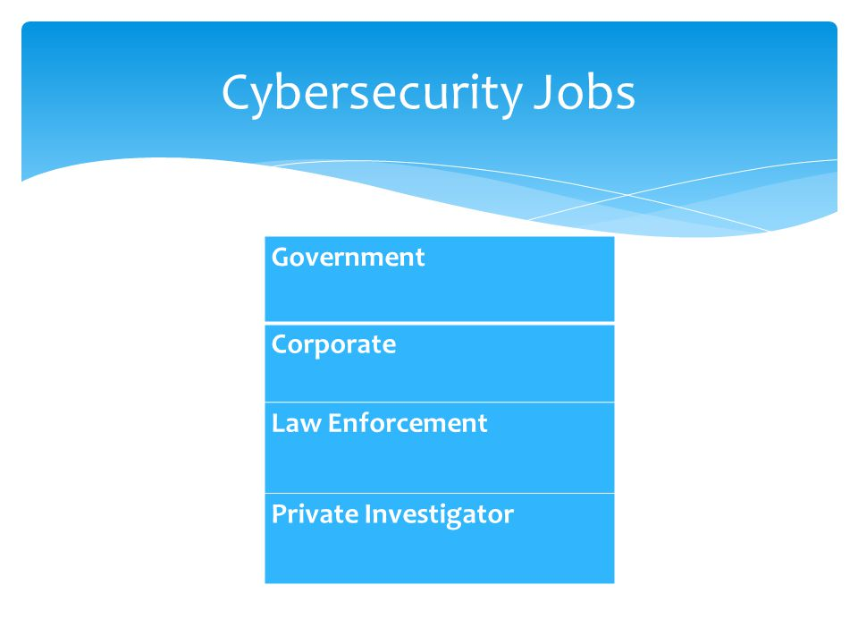 Cybersecurity Jobs Government Corporate Law Enforcement Private Investigator
