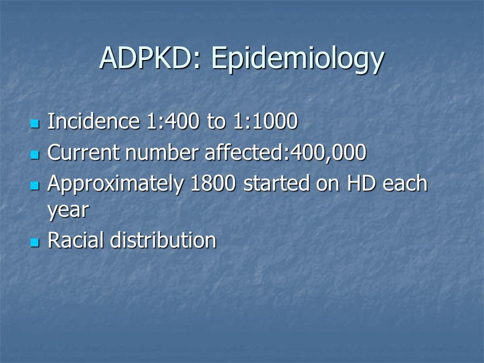 ADPKD: Epidemiology Incidence 1:400 to 1:1000 Incidence 1:400 to 1:1000 Current number affected:400,000 Current number affected:400,000 Approximately