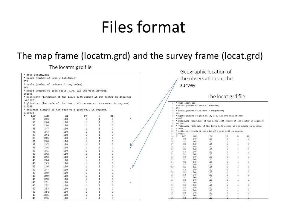 Files format The map frame (locatm.grd) and the survey frame (locat.grd) X X X X Geographic location of the observations in the survey The locat.grd file The locatm.grd file
