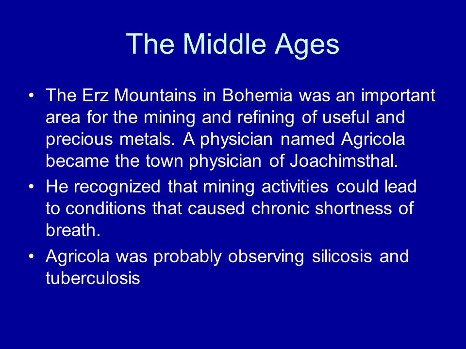 The Middle Ages The Erz Mountains in Bohemia was an important area for the mining and refining of useful and precious metals.