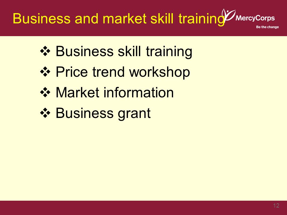 Business and market skill training  Business skill training  Price trend workshop  Market information  Business grant 12