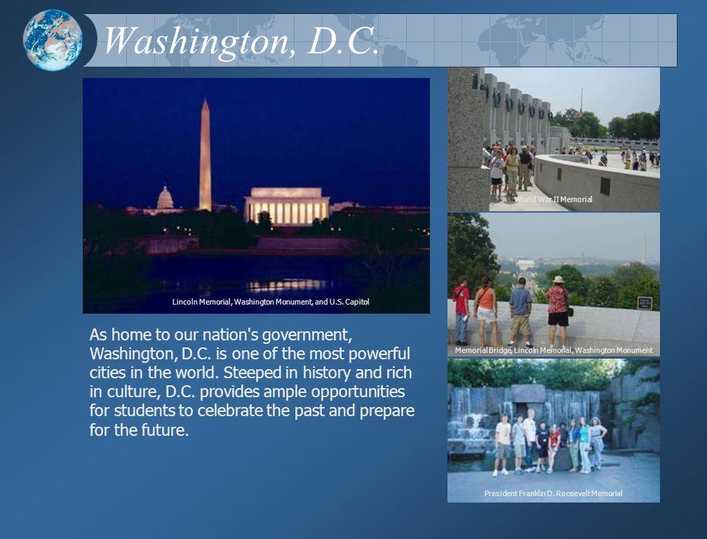 Washington, D.C. Lincoln Memorial, Washington Monument, and U.S.