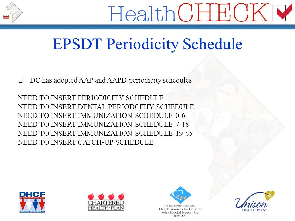 EPSDT Periodicity Schedule DC has adopted AAP and AAPD periodicity schedules NEED TO INSERT PERIODICITY SCHEDULE NEED TO INSERT DENTAL PERIODCITIY SCH