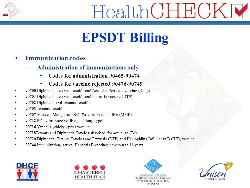 EPSDT Billing Immunization codes – Administration of immunizations only Codes for administration 90465-90474 Codes for vaccine rejected 90476-90749 90