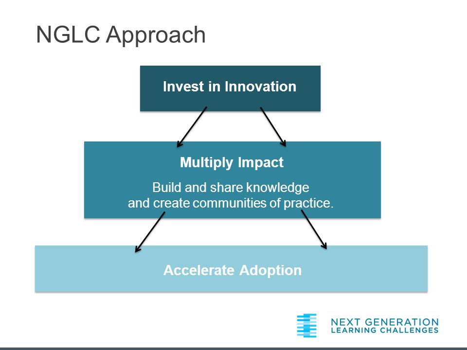 Invest in Innovation Multiply Impact Accelerate Adoption Build and share knowledge and create communities of practice.