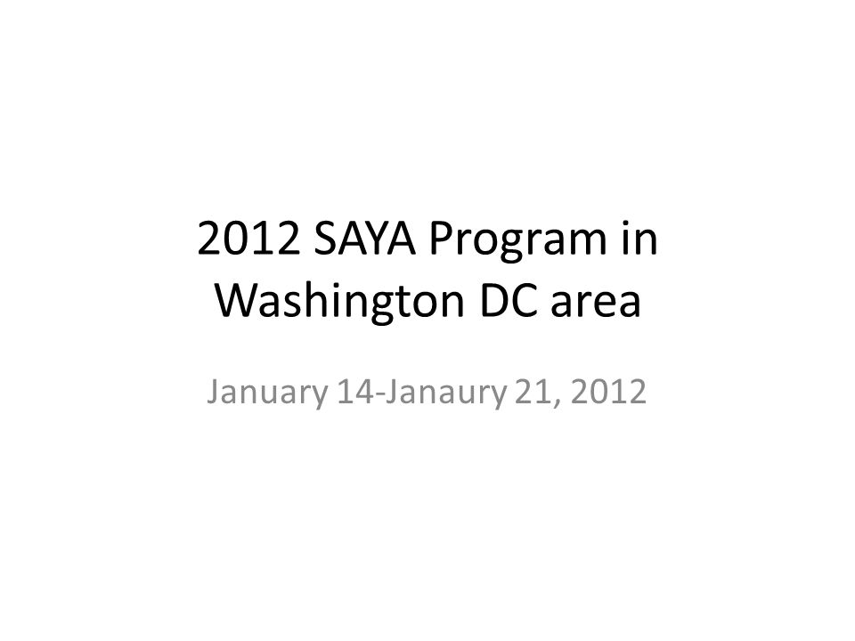 2012 SAYA Program in Washington DC area January 14-Janaury 21, 2012
