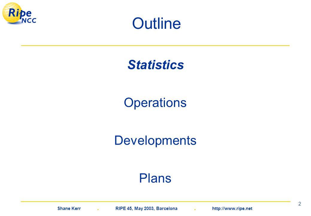 Shane Kerr. RIPE 45, May 2003, Barcelona. http://www.ripe.net 2 Outline Statistics Operations Developments Plans