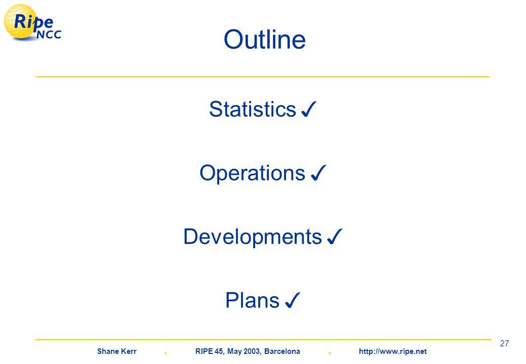 Shane Kerr. RIPE 45, May 2003, Barcelona. http://www.ripe.net 27 Outline Statistics ✓ Operations ✓ Developments ✓ Plans ✓