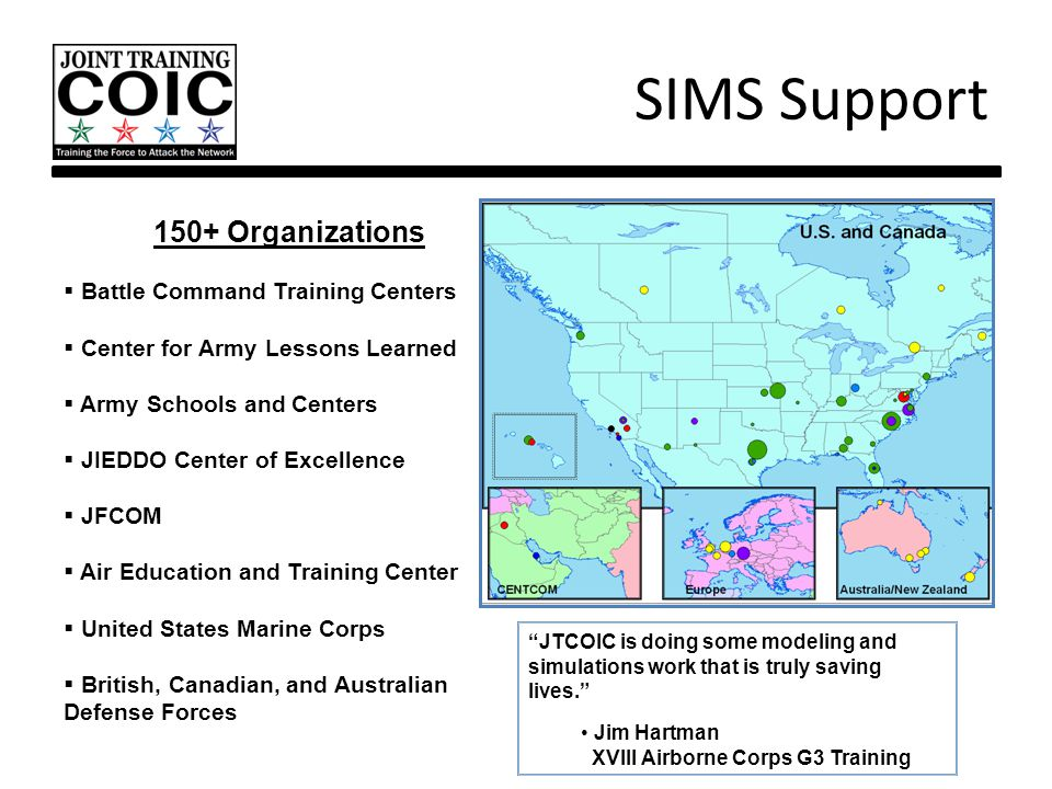 SIMS Support 150+ Organizations  Battle Command Training Centers  Center for Army Lessons Learned  Army Schools and Centers  JIEDDO Center of Exce