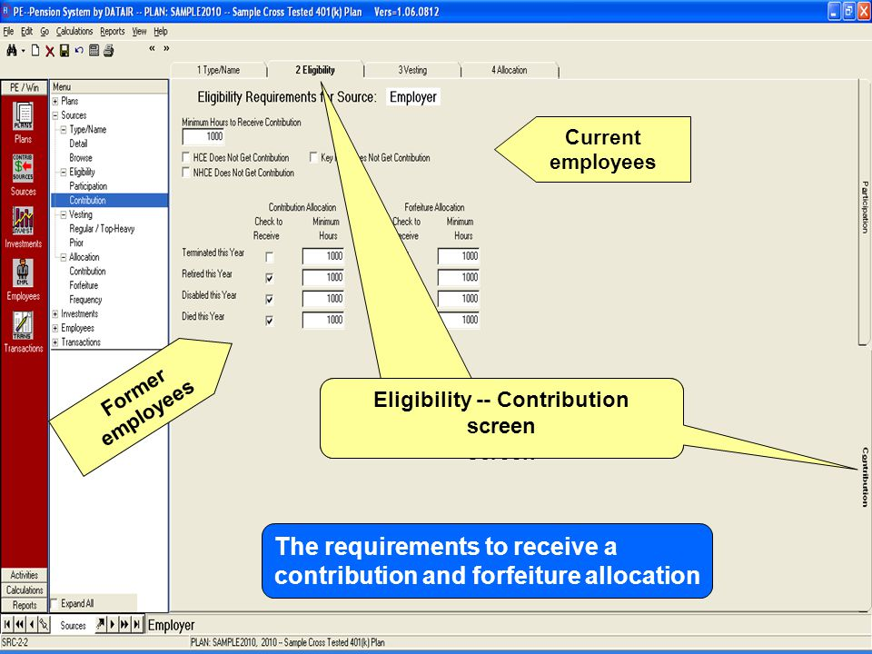 The Eligibility -- Participation screen Eligibility -- Contribution screen The requirements to receive a contribution and forfeiture allocation Current employees Former employees