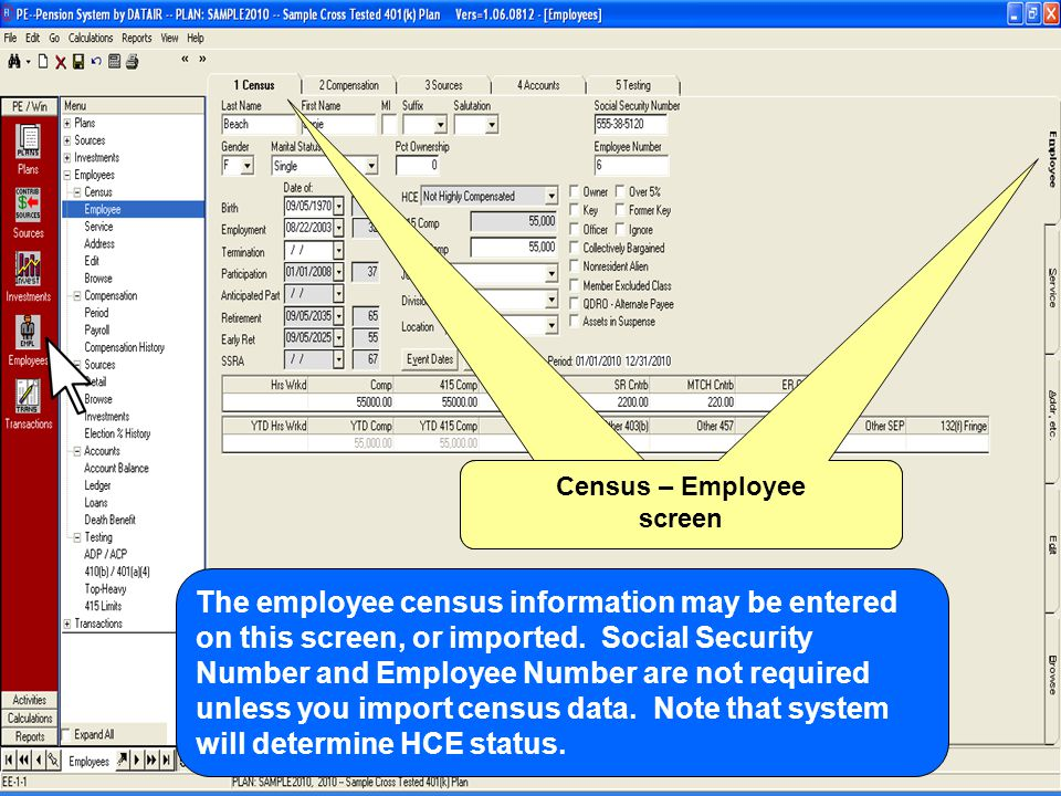 Census – Employee screen The employee census information may be entered on this screen, or imported.