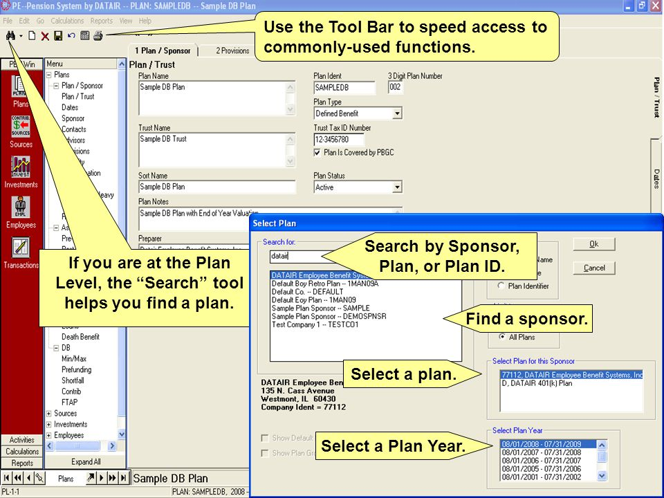 If you are at the Plan Level, the Search tool helps you find a plan.