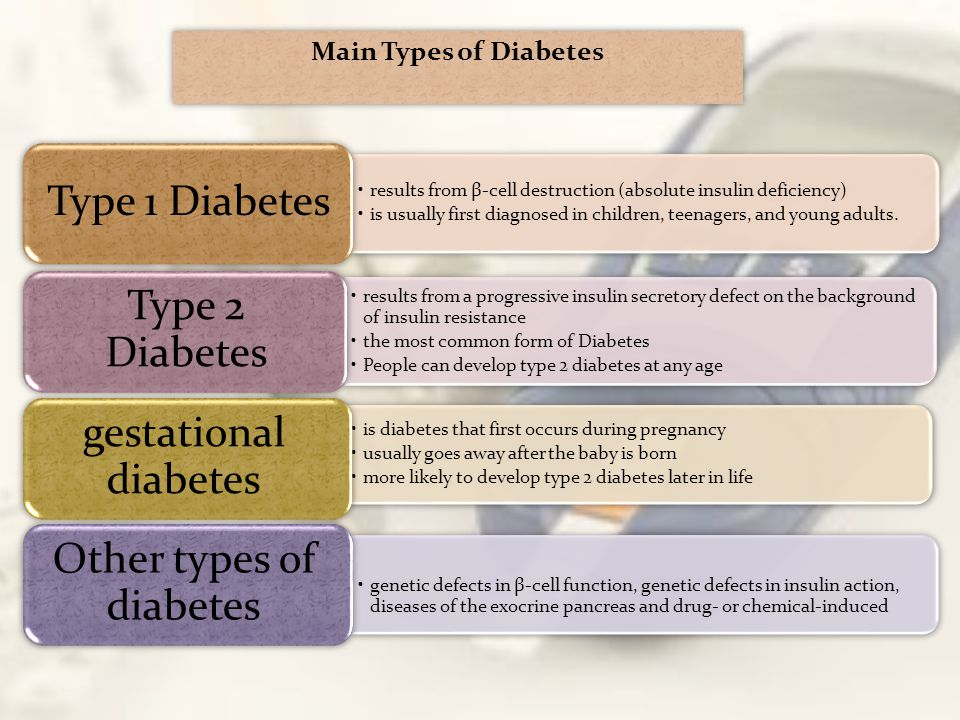 results from β-cell destruction (absolute insulin deficiency) is usually first diagnosed in children, teenagers, and young adults. Type 1 Diabetes is