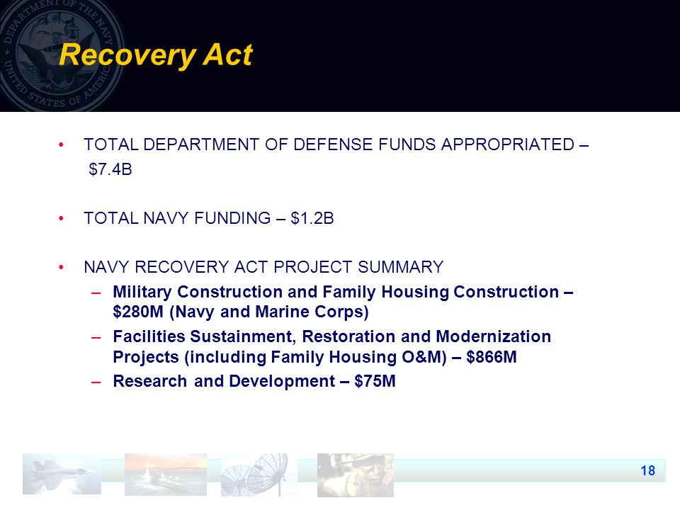 18 Recovery Act TOTAL DEPARTMENT OF DEFENSE FUNDS APPROPRIATED – $7.4B TOTAL NAVY FUNDING – $1.2B NAVY RECOVERY ACT PROJECT SUMMARY –Military Construction and Family Housing Construction – $280M (Navy and Marine Corps) –Facilities Sustainment, Restoration and Modernization Projects (including Family Housing O&M) – $866M –Research and Development – $75M
