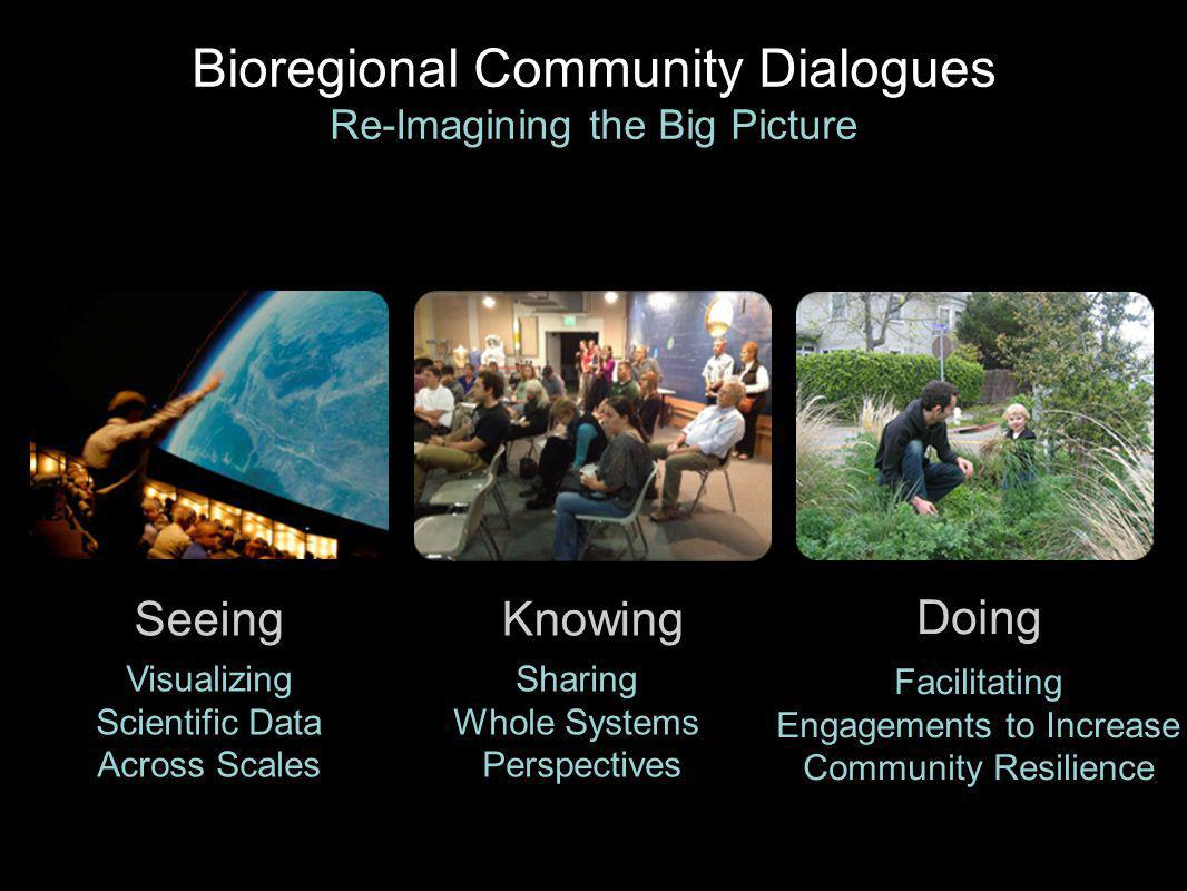 Seeing Visualizing Scientific Data Across Scales Knowing Sharing Whole Systems Perspectives Doing Facilitating Engagements to Increase Community Resilience Bioregional Community Dialogues Re-Imagining the Big Picture