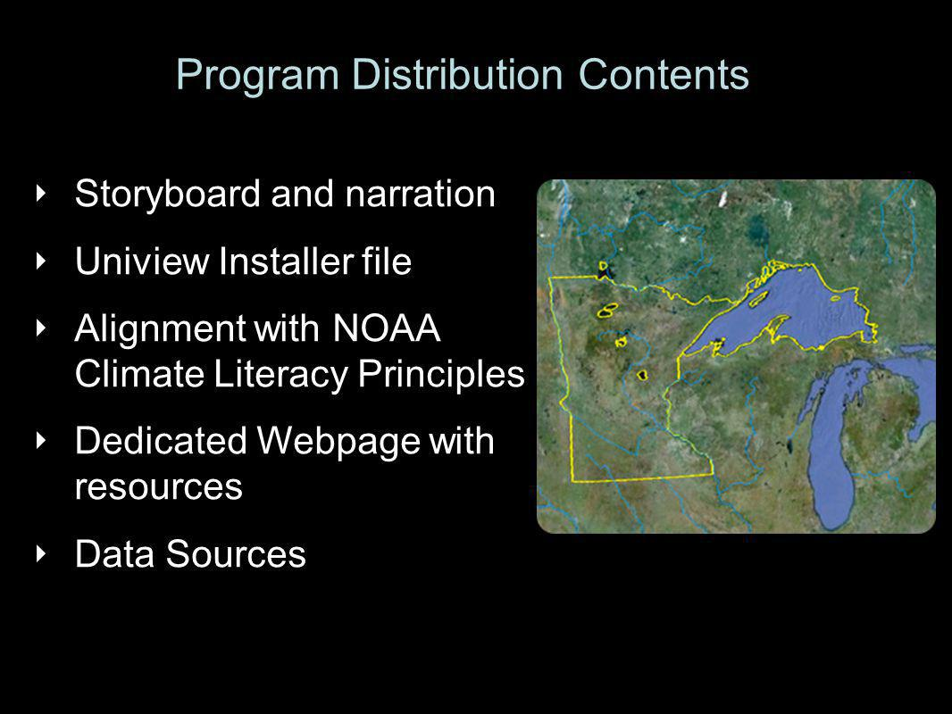 ‣ Storyboard and narration ‣ Uniview Installer file ‣ Alignment with NOAA Climate Literacy Principles ‣ Dedicated Webpage with resources ‣ Data Sources Program Distribution Contents