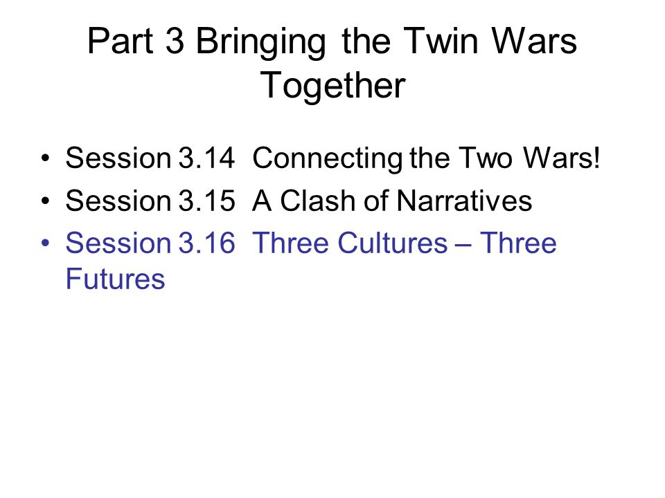 Part 3 Bringing the Twin Wars Together Session 3.14 Connecting the Two Wars.