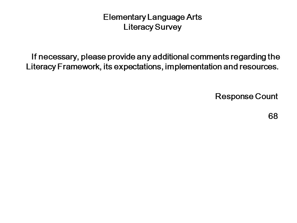 Elementary Language Arts Literacy Survey If necessary, please provide any additional comments regarding the Literacy Framework, its expectations, implementation and resources.