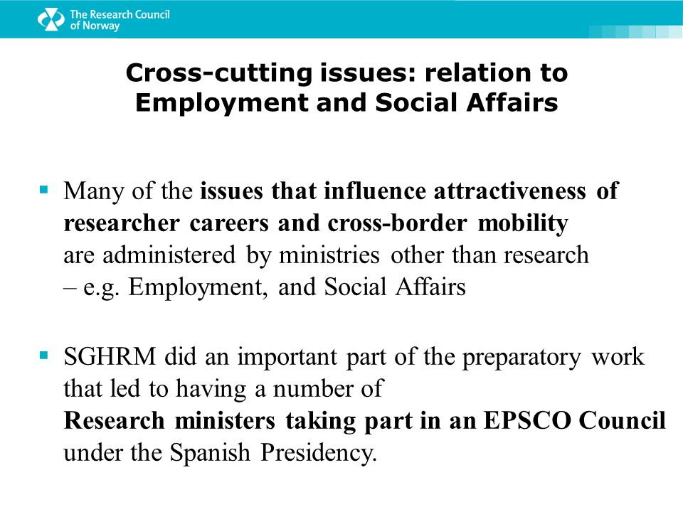 Cross-cutting issues: relation to Employment and Social Affairs  Many of the issues that influence attractiveness of researcher careers and cross-border mobility are administered by ministries other than research – e.g.