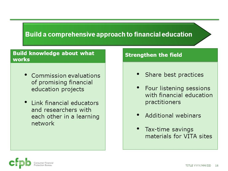 Build knowledge about what works Commission evaluations of promising financial education projects Link financial educators and researchers with each o