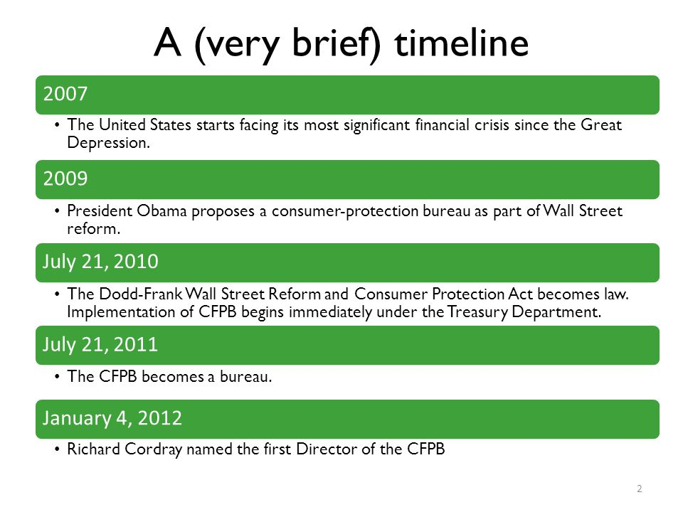 A (very brief) timeline 2007 The United States starts facing its most significant financial crisis since the Great Depression. 2009 President Obama pr